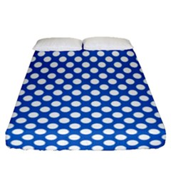 Pastel Blue, White Polka Dots Pattern, Retro, Classic Dotted Theme Fitted Sheet (queen Size)