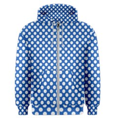 Pastel Blue, White Polka Dots Pattern, Retro, Classic Dotted Theme Men s Zipper Hoodie