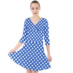 Pastel Blue, White Polka Dots Pattern, Retro, Classic Dotted Theme Quarter Sleeve Front Wrap Dress by Casemiro