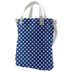 Pastel Blue, White Polka Dots Pattern, Retro, Classic Dotted Theme Canvas Messenger Bag
