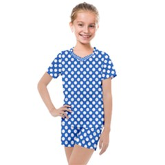 Pastel Blue, White Polka Dots Pattern, Retro, Classic Dotted Theme Kids  Mesh Tee And Shorts Set