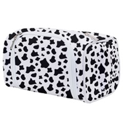 Black And White Cow Spots Pattern, Animal Fur Print, Vector Toiletries Pouch