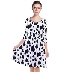 Black And White Cow Spots Pattern, Animal Fur Print, Vector Quarter Sleeve Waist Band Dress