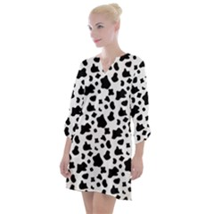 Black And White Cow Spots Pattern, Animal Fur Print, Vector Open Neck Shift Dress