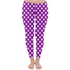 White And Purple, Polka Dots, Retro, Vintage Dotted Pattern Classic Winter Leggings