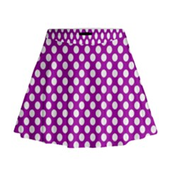 White And Purple, Polka Dots, Retro, Vintage Dotted Pattern Mini Flare Skirt by Casemiro