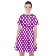 White And Purple, Polka Dots, Retro, Vintage Dotted Pattern Sailor Dress