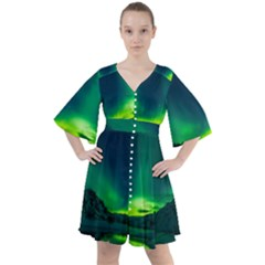Iceland Aurora Borealis Boho Button Up Dress