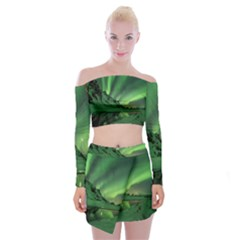 Snow Winter White Cold Weather Green Aurora Off Shoulder Top With Mini Skirt Set