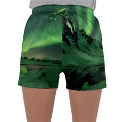 Snow Winter White Cold Weather Green Aurora Sleepwear Shorts