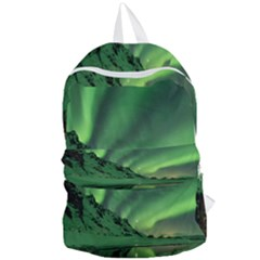 Snow Winter White Cold Weather Green Aurora Foldable Lightweight Backpack