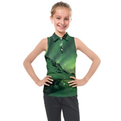 Snow Winter White Cold Weather Green Aurora Kids  Sleeveless Polo Tee