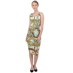 Multicolored Modern Collage Print Sleeveless Pencil Dress by dflcprintsclothing
