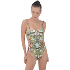 Multicolored Modern Collage Print Tie Strap One Piece Swimsuit