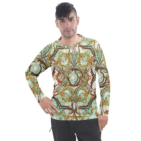 Multicolored Modern Collage Print Men s Pique Long Sleeve Tee by dflcprintsclothing