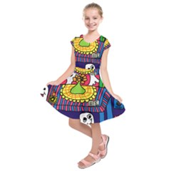 Circus Ghosts Digital Kids  Short Sleeve Dress