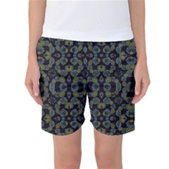 Modern Ornate Stylized Motif Print Women s Basketball Shorts