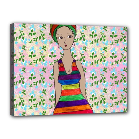 Tan Swimmer Flowerwall Canvas 16  X 12  (stretched) by snowwhitegirl