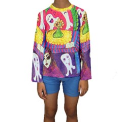 Circus Ghosts Kids  Long Sleeve Swimwear