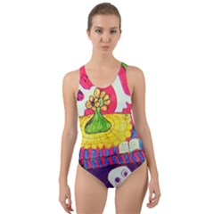 Circus Ghosts Cut-out Back One Piece Swimsuit