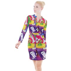Circus Ghosts Button Long Sleeve Dress by snowwhitegirl