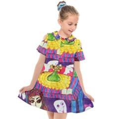 Circus Ghosts Kids  Short Sleeve Shirt Dress by snowwhitegirl