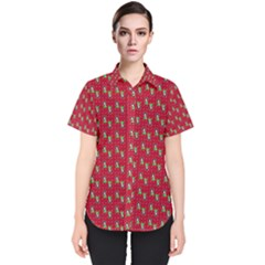 Headphones Girl Red Women s Short Sleeve Shirt