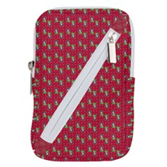 Headphones Girl Red Belt Pouch Bag (large)