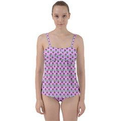 Headphones Girl Pink Twist Front Tankini Set