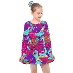 Dinos Kids  Long Sleeve Dress by Sobalvarro