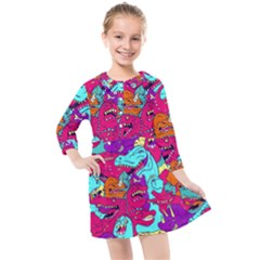 Dinos Kids  Quarter Sleeve Shirt Dress by Sobalvarro