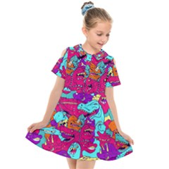 Dinos Kids  Short Sleeve Shirt Dress by Sobalvarro