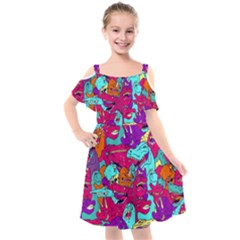 Dinos Kids  Cut Out Shoulders Chiffon Dress by Sobalvarro