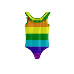 Original 8 Stripes Lgbt Pride Rainbow Flag Kids  Frill Swimsuit by yoursparklingshop