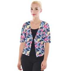 Beautiful Floral Pattern Cropped Button Cardigan