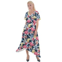 Beautiful Floral Pattern Cross Front Sharkbite Hem Maxi Dress