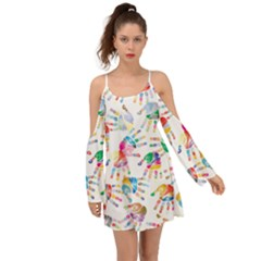 Colorful Palms, Hand Print Pattern, Rainbow Colors Palette Kimono Sleeves Boho Dress
