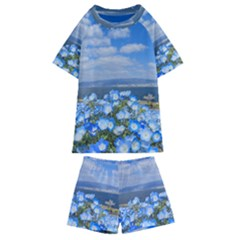 Floral Nature Kids  Swim Tee And Shorts Set