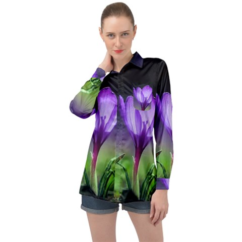 Flower Long Sleeve Satin Shirt by Sparkle