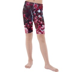 Red Floral Kids  Mid Length Swim Shorts