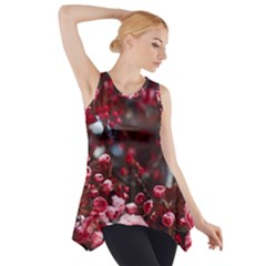 Red Floral Side Drop Tank Tunic by Sparkle