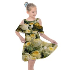 Yellow Roses Kids  Shoulder Cutout Chiffon Dress by Sparkle