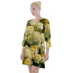 Yellow Roses Open Neck Shift Dress