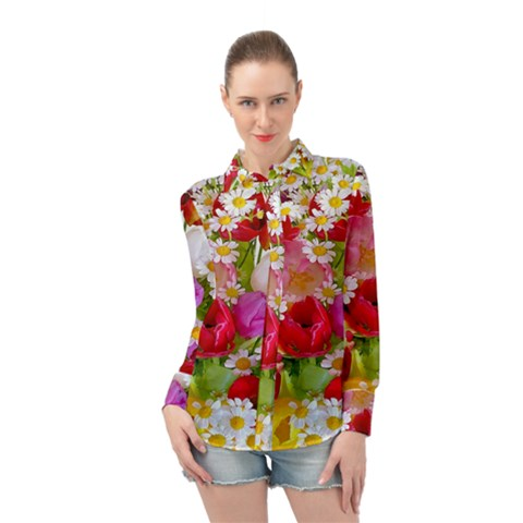 Beautiful Floral Long Sleeve Chiffon Shirt by Sparkle