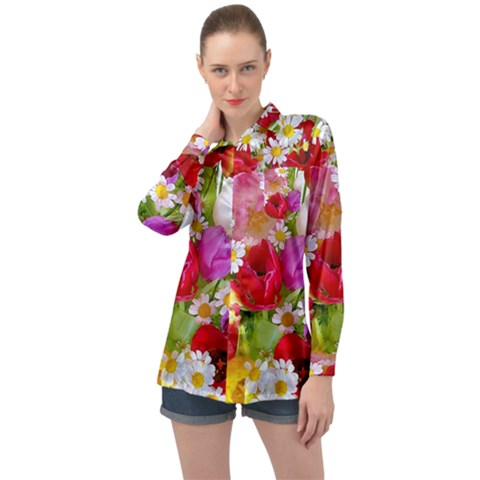 Beautiful Floral Long Sleeve Satin Shirt by Sparkle
