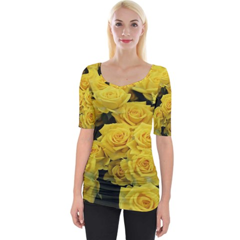 Yellow Roses Wide Neckline Tee by Sparkle