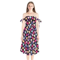 Colorful Love Shoulder Tie Bardot Midi Dress by Sparkle