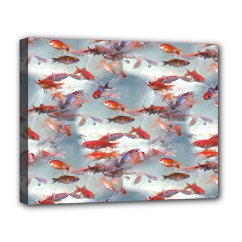Golden Fishes Deluxe Canvas 20  X 16  (stretched)