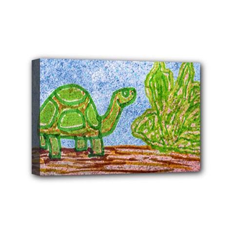 Turtle And Letttuce Colored Illustration Mini Canvas 6  X 4  (stretched) by dflcprintsclothing