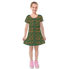 Sakura Tulips Giving Fruit In The Festive Temple Forest Kids  Short Sleeve Velvet Dress by pepitasart